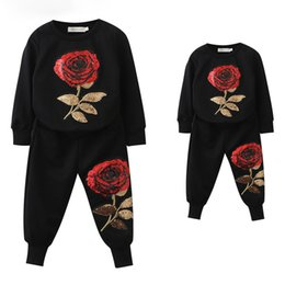Wholesale family sweatshirts - Fashion New Spring Style Family Matching Outfits Mother and Daughter Long Sleeve Rose Floral Sweatshirt+Pants 2Pcs Suit