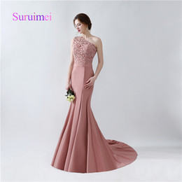 Wholesale Short One Shoulder Wedding Dresses - Free Shipping One Shoulder Mermaid Prom Dresses 2017 With Appliques Satin Sweep Train Formal Evening Gowns