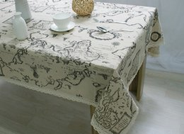 Wholesale World Map High Quality - 2017 New Arrival Table Cloth World Map High Quality Lace Tablecloth Decorative Elegant Table Cloth Linen Table Cover