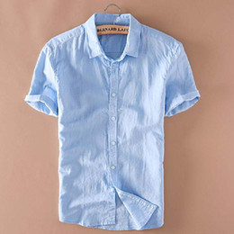 5cab41f96fe9 Großhandels- Mens Linen Shirts Kurzarm Sommer Herren Qualität Casual Shirts  Slim Fit Solid Baumwolle Shirts Männer Camisa Masculina TS-149 rabatt herren  ...