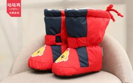 Wholesale Navy Baby Shoes - baby age 3m-6m-1y red navy winter shoes soft outsole Toddler shoes plus cashmere