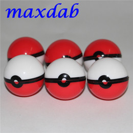 Wholesale Silicone Gel Ball - 2017 New Arrival Pokeball Silicone Case Food Grade Wax Container Jars Gel Ball Shaped Storage Box Herbal Vaporizer Glass Bong Accessories