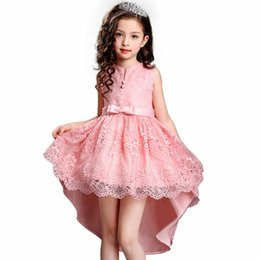 vests for party girls Promo Codes - Free Shipping 2017 Girl Princess Dress for Vest Marriage Children Party Formal Dress Lace Flower Girl Dresses for Weddings