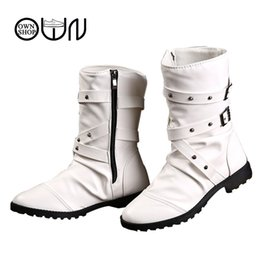 Wholesale Men S Ankle Shoes - Wholesale-Men Fashion Boot Ruffles Round Toe Black White PU Leather Men Boots Solid Flat with Zip Men`s Ankle Winter Shoes OWNSHOP