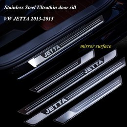 Wholesale Scuff Plates Jetta - Stainless Steel Ultrathin Door Sill Scuff Plate Guard Sills for VW JETTA 2013-2015 Mirror Surfaces Door Sills Car Styling AT13003