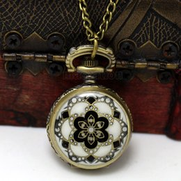 Wholesale Enamel Pocket Watches - Wholesale-2016 New 1PC Necklace Chain Flower Enamel Pocket Watch W Battery Bronze Tone 82.5cm Free Shipping p569