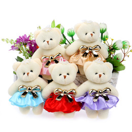 Wholesale Christmas Mixed Teddy Bear - Flower Bouquets Teddy Bear Mini Small Wedding Gift Plush Toys Red pink blue coffee purple Mixed Color 10pcs lot Toys