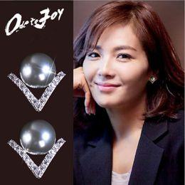 Wholesale Pearl Alphabet - Fashion 925 sterling silver needle crystal pearl stud earrings women trendy temperament anti-allergic simple earrings jewelry