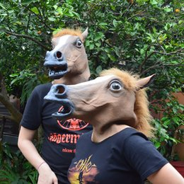 Wholesale Creepy Horse Heads - Full Head Mask Horse Head Mask Creepy Fur Mane Latex Realistic Crazy Rubber Super Creepy Party Halloween Costume Animal Mask