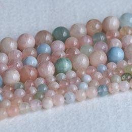 "Wholesale Green Gemstones Loose - AAA High Quality Genuine Natural Multicolour Green Pink Blue Aquamarine Beryl Morganite Round Loose Gemstone Beads 4-12mm 16"" 05216"