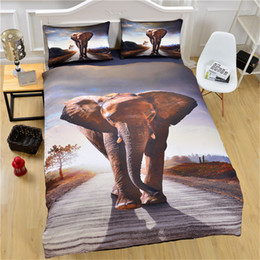 Wholesale Duvet Cover Elephant - 2017 New Elephant Bedding Set Qualified Bedclothes Unique Design No Fading Duvet Cover Twin Full Queen