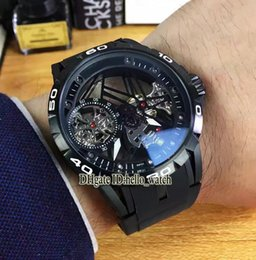 Wholesale Mechanical Skeleton Watch Movement - Super Clone Brand Excalibur Spider 42 RD505SQ Manual Winding Movement Mens Watch PVD Black Tourbillon Skeleton Rubber Strap Cheap Watches