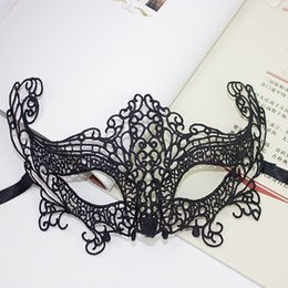 Wholesale Masks Custom - Sexy masquerade mask Lace Embroidery sexy eye masks pop black Woven black face mask lace party custom halloween veil