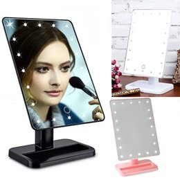 Wholesale Led Rotating Table Lamp - Touch Screen LED Cosmetic Mirror 16 22 LED Lamps 360°Rotating Folding Table Makeup Mirror Compact Pocket Makeup Tool Best Gift