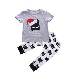 Wholesale wholesale christmas clothing - Christmas BABY Clothing Todder Boy Clothes Set Boys Shirt Legging Pants Kids Boutique Clothes Suit Grey Outfit Cartoon Playsuit Tracksuit