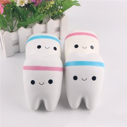 Wholesale Toy Materials - Simulation Tooth Pendant With Bead Chain Slow Rebound Decompression Personalized Vent Toys Plastic Resin Material Hot Sale 6 5sq I1
