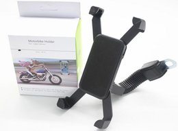 Wholesale Mirrors For Motorbikes - Universal Motorcycle Phone Holder Stand Motorbike rearview mirror Mount Bracket With Edge Protector for iPhone 4S 5s 6 6s 7 7plus Samsung