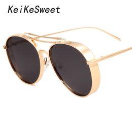 Wholesale Korean Men Sun Glass Fashion - Wholesale-KeiKeSweet Sexy Fashion Luxury Big Oversized Brand Designer Sun Glasses Top Hot Korean Woman Metal Frame Cool Rayed Sunglasses