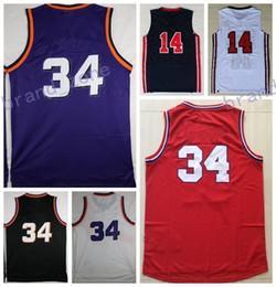 Wholesale Usa Sports Wear - Discount 2017 #34 Sports Basketball Jerseys Retro 1992 Dream Team USA #14 Basket ball Wear With Player Name Team Logo Throwback Shirts