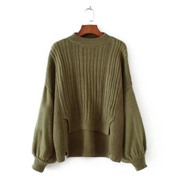 Wholesale Piece Free Computer - Autumn and Winter New Sweater 2017 New Knitting Loose Fake Two Piece Long Sleeve Lantern Sleeve Female Solid Pullover Sweater