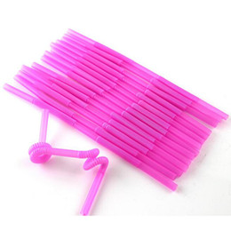 Wholesale Drinking Straws Mix - Wholesale-Hot sale100Pc flexible plastic bendy Mix colour happy party disposable drinking straws kids birthday wedding decoration Supplies