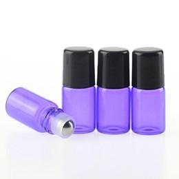 Micro mini rullo online-Commercio all'ingrosso 1200Pcs / Lot Essence 2ml vetro viola Micro Mini Roll-on bottiglie di vetro con sfere a rulli metallici - Olio di aromaterapia riutilizzabile DHL