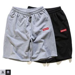 Wholesale Hot Pants Mans - New summer Original brand supremo embroidery men's cotton shorts leisure sports beach pants hip hop street hot sale size XXL black grey