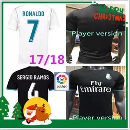 Wholesale Top Soccer Jersey Madrid - Player version 2017 2018 Top Quality Real madrid soccer Jerseys RONALDO Sergio Ramos White black BALE MARCELO ISCO MODRIC Football Shirt