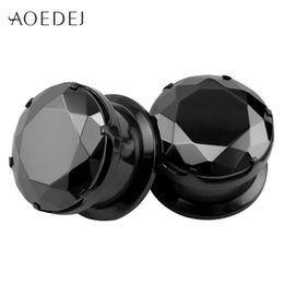 Wholesale Screw Fit Tunnel Ear Plug - 4-16mm Black Crystal Plugs And Tunnels Ear Plugs Stone Expander Piercing Ear Gauges Ear Stretchers Stainless Steel Screw Fit 8mm