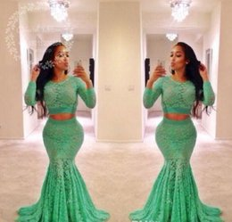 Wholesale Mermaid Lime Green Prom Dresses - Lime Green Lace Two Pieces Prom Dresses 2017 Long Sleeves Mermaid Evening Dress African Plus Size Black Girls Formal Party Gowns