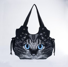 Wholesale Ladies Handbags For Travelling - Wholesale-2016 new designed women canvas handbag cute cat bag casual fashion all-match shoulder bag travel bag tote for lady bolsos