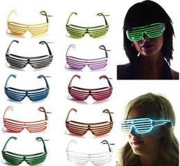 Wholesale Rave Halloween Costumes - Fashion El Wire Neon LED Light Up Shutter Shaped Glasses for Rave Costume Party 10 Colors