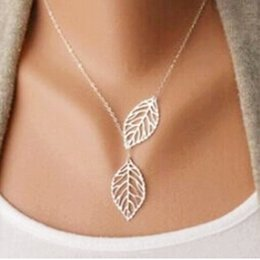 Wholesale Golden Woman Chains - YANA Jewelry 2015 New Gold And Sliver Two Leaf Pendants Necklace Chain multi layer statement necklaces Woman Gift SALE 50