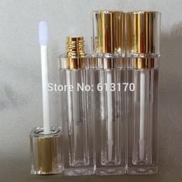 botellas de spray de vidrio verde al por mayor Rebajas Envío gratis 8 ml tubos de brillo de labios con tapa de oro de doble pared, envase cuadrado de embalaje de barra de labios, botella de bálsamo de labios vacía DIY