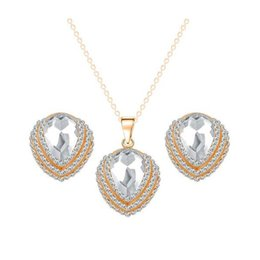 Wholesale Bridal Jewelry Teardrop Sets - New Bridal Jewelry Sets 18K Gold Plated AAA+ Clear Crystal Cluster Teardrop Stud Earrings Chain Necklace for Wedding Best Gift