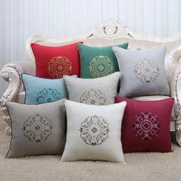 Wholesale Embroidery Linen Cushion Cover - Latest Embroidery High End Cushion Covers 17 inch 20 inch 24 inch Sofa Seat Chair Lumbar Pillow Chinese style Cotton Linen Back Cushion Case