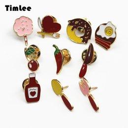 Wholesale Fun Travel - Wholesale- Timlee X271 Sweet Travel Picnic Fun Cartoon Love Cherry Enamel Pin Fried Pepper Brooch Pins,Fashion Jewelry