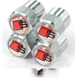 Wholesale Sline Tire Valve Caps - Sline Mini Metal Tire Valve Valves Tyre Dust Cap Caps MT Car Badge Emblem Badges for Audi