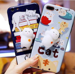 Wholesale Black Cat Iphone Case - For iphone 7 case 3D Cartoon fidget Kitty Cat Cases Soft Silicone Squeeze cats Stress relief squishy Cover for iphone 6 6s 7 plus iphone 8
