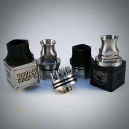 Wholesale Cap Body - Vaporizer HellBoy RDA Atomizer Hell Boy Atomizer with wide drip tip top cap 6 Colors 12 Hole Airflow Control Square Body DHL Free