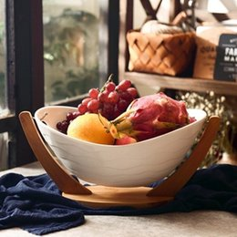 Wholesale Fruits Crafts - Porcelain Serving Tray with Bamboo Rack Ceramic Cradle Dinner Plate Decorative Tableware Ornament Craft for Fruit and Salad