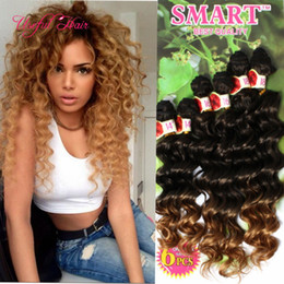 Wholesale Crochet Pieces - Free shipping freetress hair deep wave ripple hair braids Christmas Jerry curly,deep ombre brown,synthetic braiding crochet hair extensions