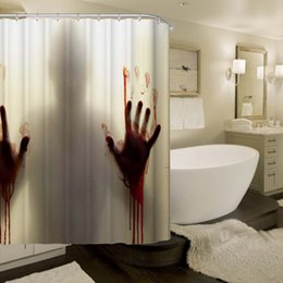 Wholesale Home Decoration Bathroom - Wholesale- Bloody Bathroom Waterproof Polyester Shower Curtain High Quality Bath Bathing Sheer for Home Decorations