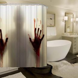 2019 rideau de douche de bain en gros Vente en gros - Salle de bains sanglante imperméable Polyester Rideau de douche de haute qualité Bath Bathing Sheer pour les décorations pour la maison promotion rideau de douche de bain en gros