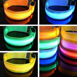 Wholesale banded gear - Party Decoration Glowing Bracelet LED Lights Flash Wristband Ring Nocturnal Warning Band Running Gear Glowing Rave