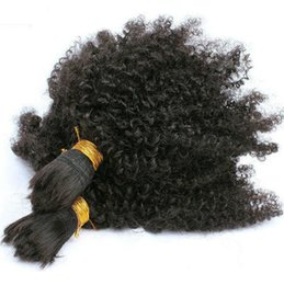Wholesale Brazilian Afro Curl Hair - 3 pieces Brazilian Afro Kinky Curl 7A Black Hair Bulk Indian Hair bulk Braiding Hair 3pcs
