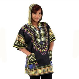 african print men designs Coupons - Wholesale-New Design Dashiki Hoodies Loose African Print Dashiki Fabric Hood 100% Cotton Fashion Robe Clothing Unisex Kimono