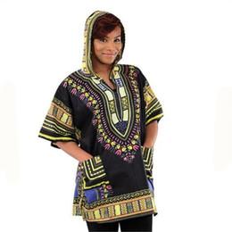 Wholesale African Fabric Brown - Wholesale-New Design Dashiki Hoodies Loose African Print Dashiki Fabric Hood 100% Cotton Fashion Robe Clothing Unisex Kimono