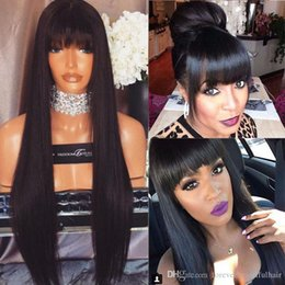 Wholesale Perruque Lace Wigs - perruque Mongolian Virgin Hair cheveux humain full lace wigs Human Hair Lace Front Wig Silky Straight Glueless Wig