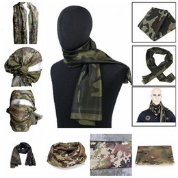 Wholesale Army Airsoft - 21 Styls Tactical Military Camouflage Scarf Cool Airsoft Tactical Multifunctional Army Mesh Breathable Scarf Wrap Mask YYA439